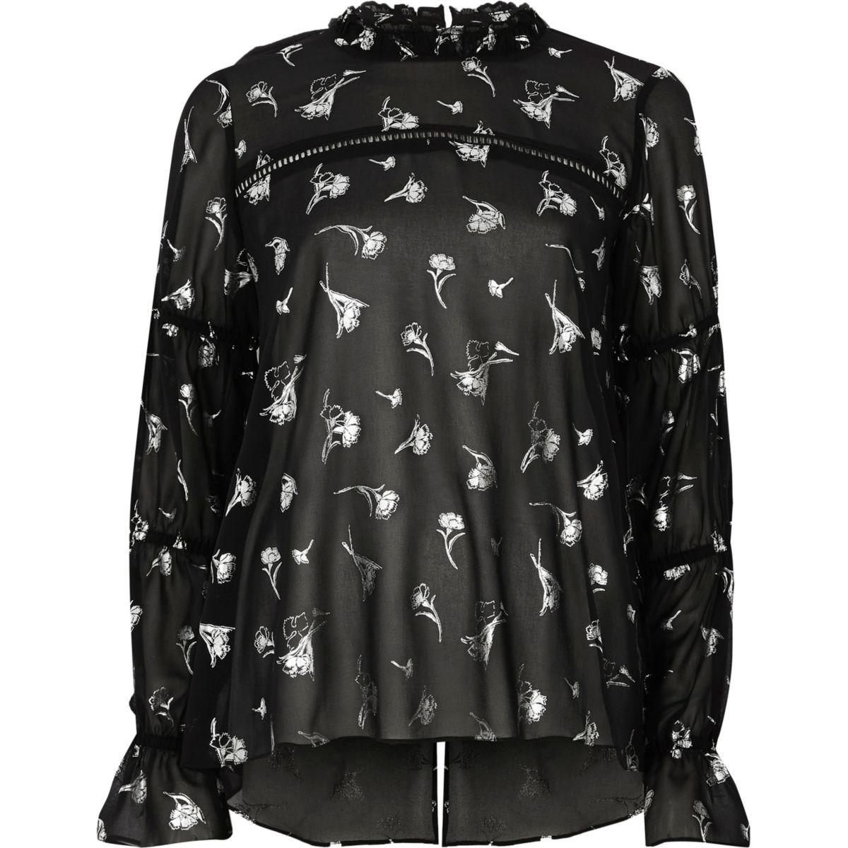 Zwarte chiffon blouse met folieprint van bloemen