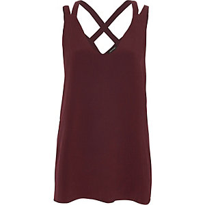 Dark red double strap cross back tank