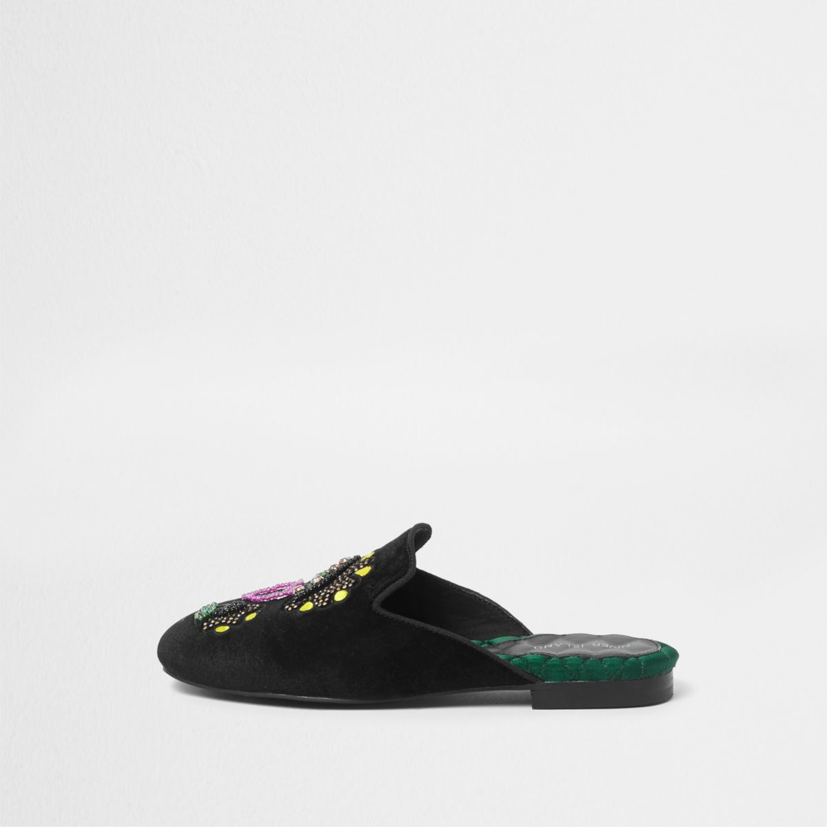Black velvet embroidered backless loafers