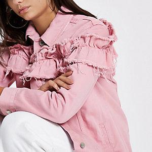 Pinke, Oversized Jeansjacke mit Rüschen