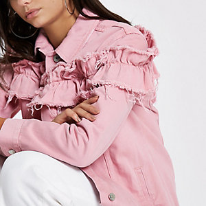Pink frill oversized denim jacket