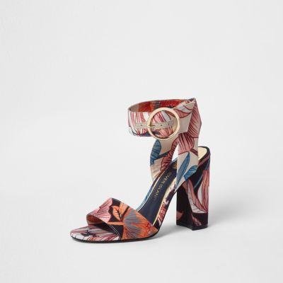 Floral Block Heel Sandals