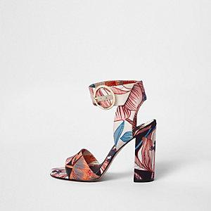 Pink floral print block heel sandals