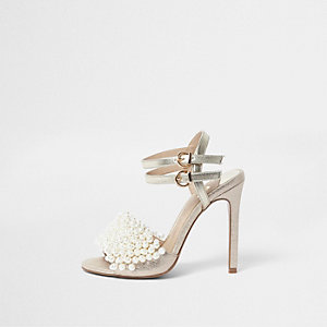Gold faux pearl vamp strappy heeled sandals