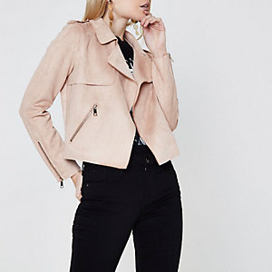 Petite light pink faux suede trench jacket