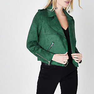 Petite green faux suede cropped trench jacket