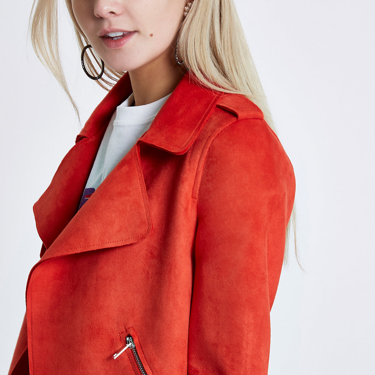RI Petite - Oranje cropped trenchcoat van imitatiesuède