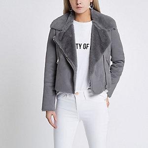 Petite blue faux shearling biker jacket