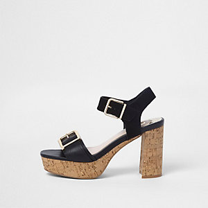 Black double buckle strap cork heel sandals