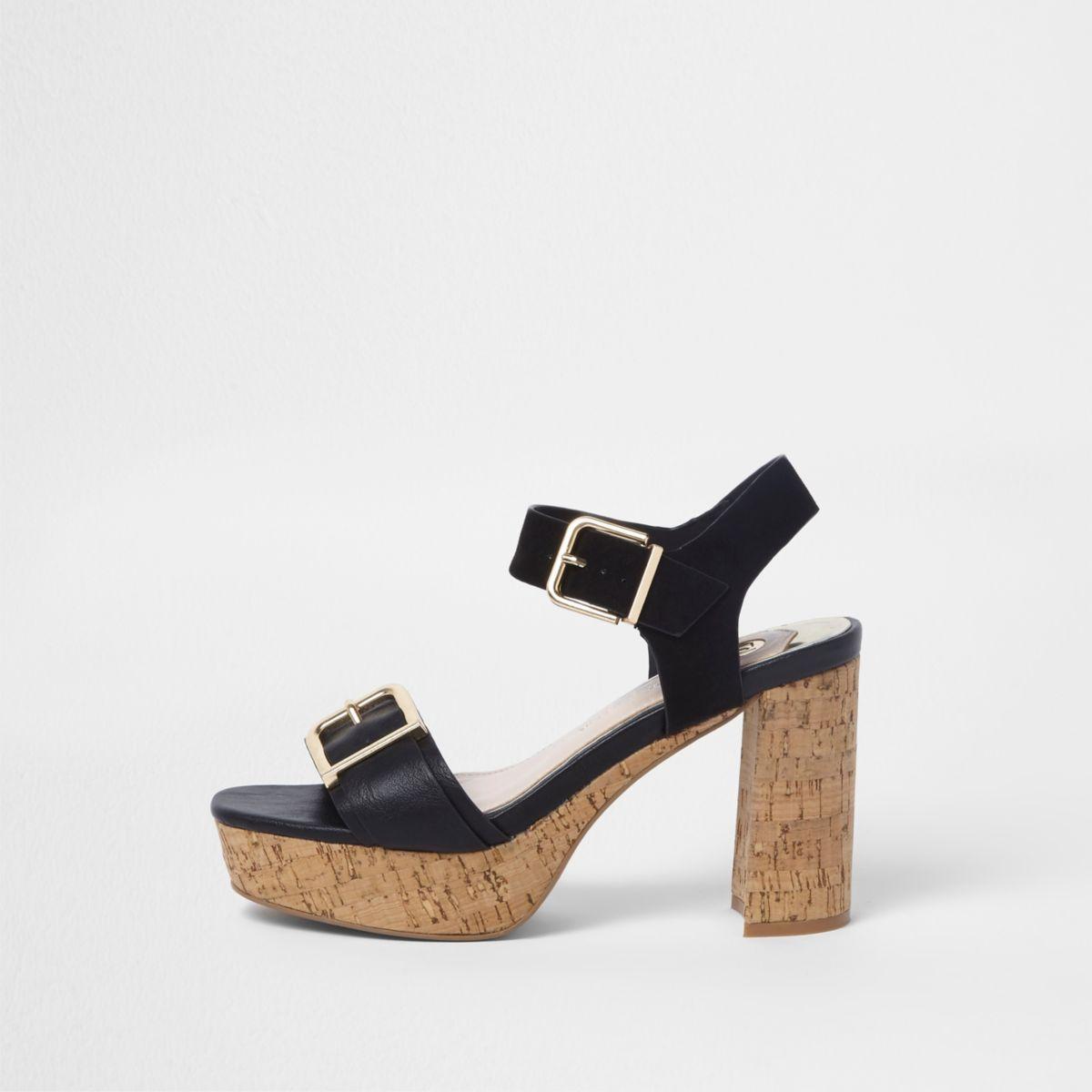 Zwarte sandalen met twee gespen, bandjes en kurkhak
