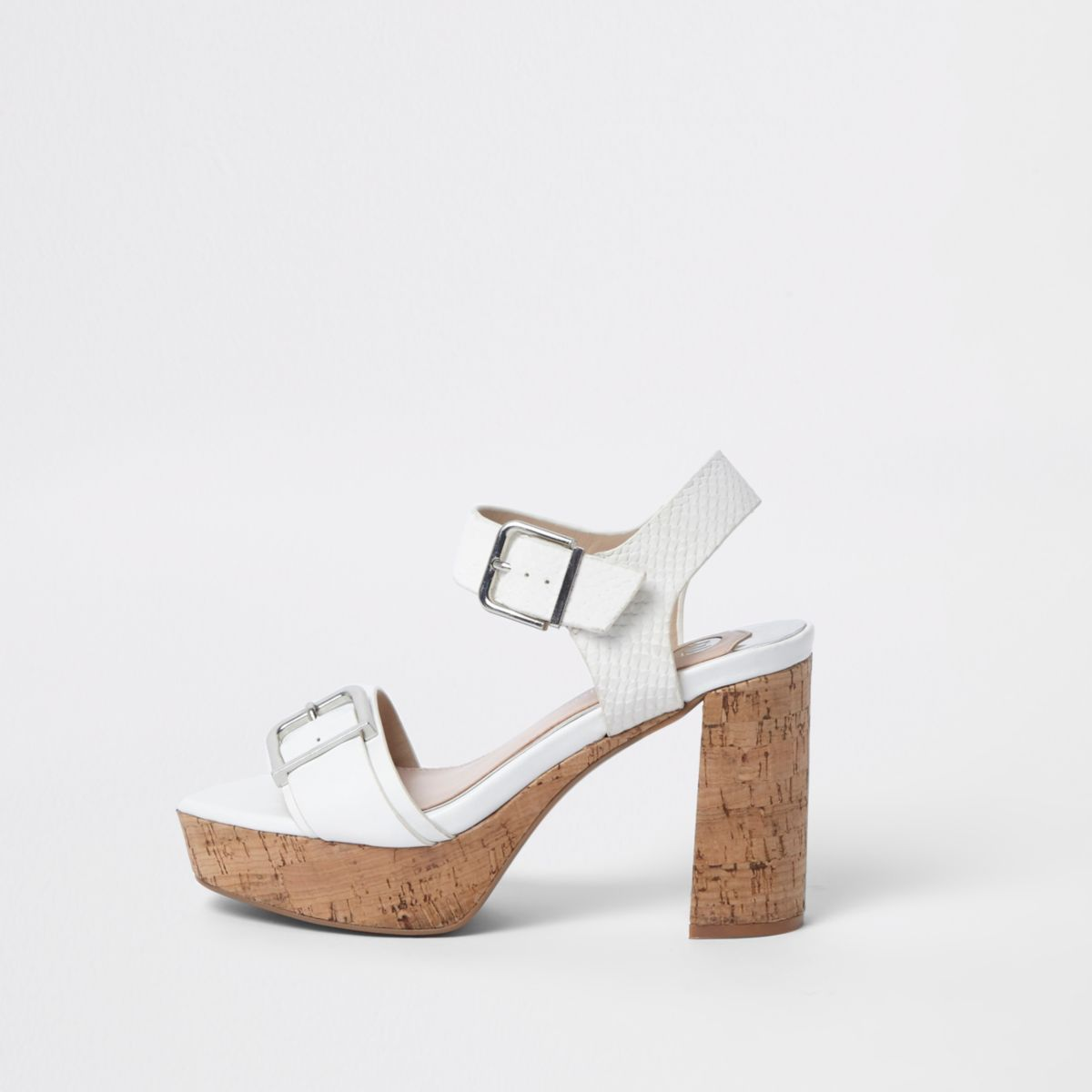 White double buckle strap cork heel sandals