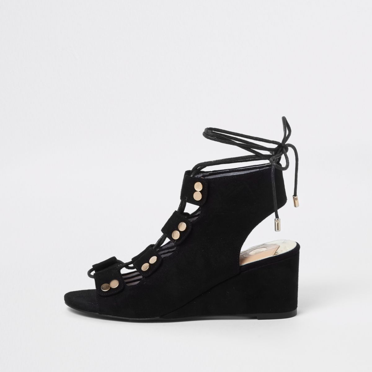 Black tie-up low wedge sandals