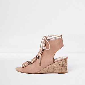 Beige tie up cork wedges