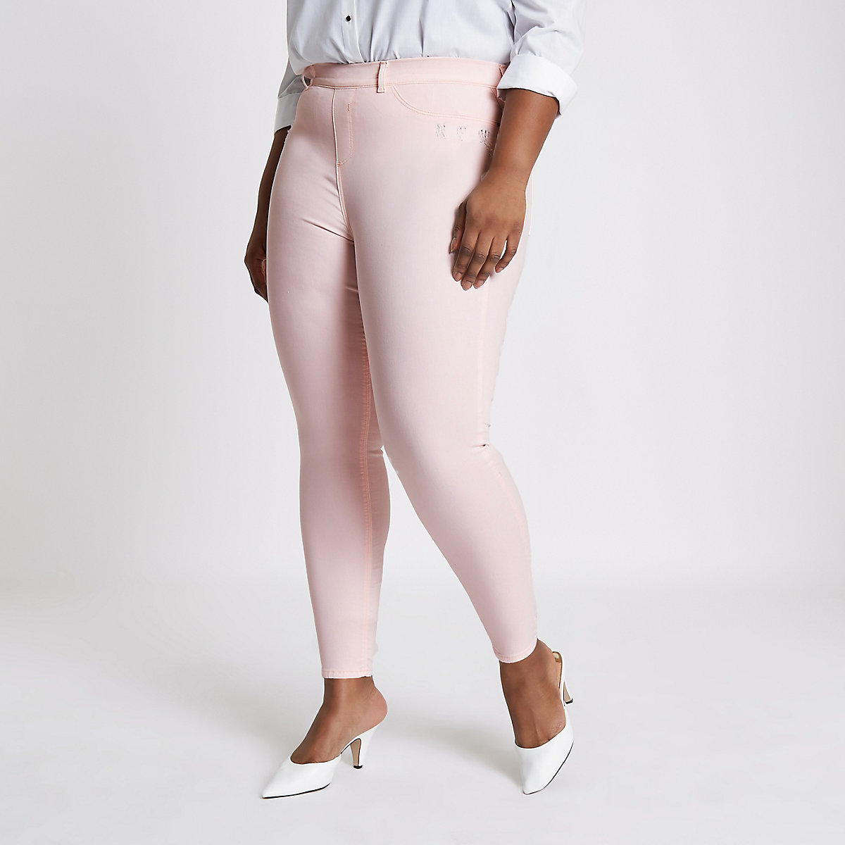 Plus light pink Jaida pull on jeggings