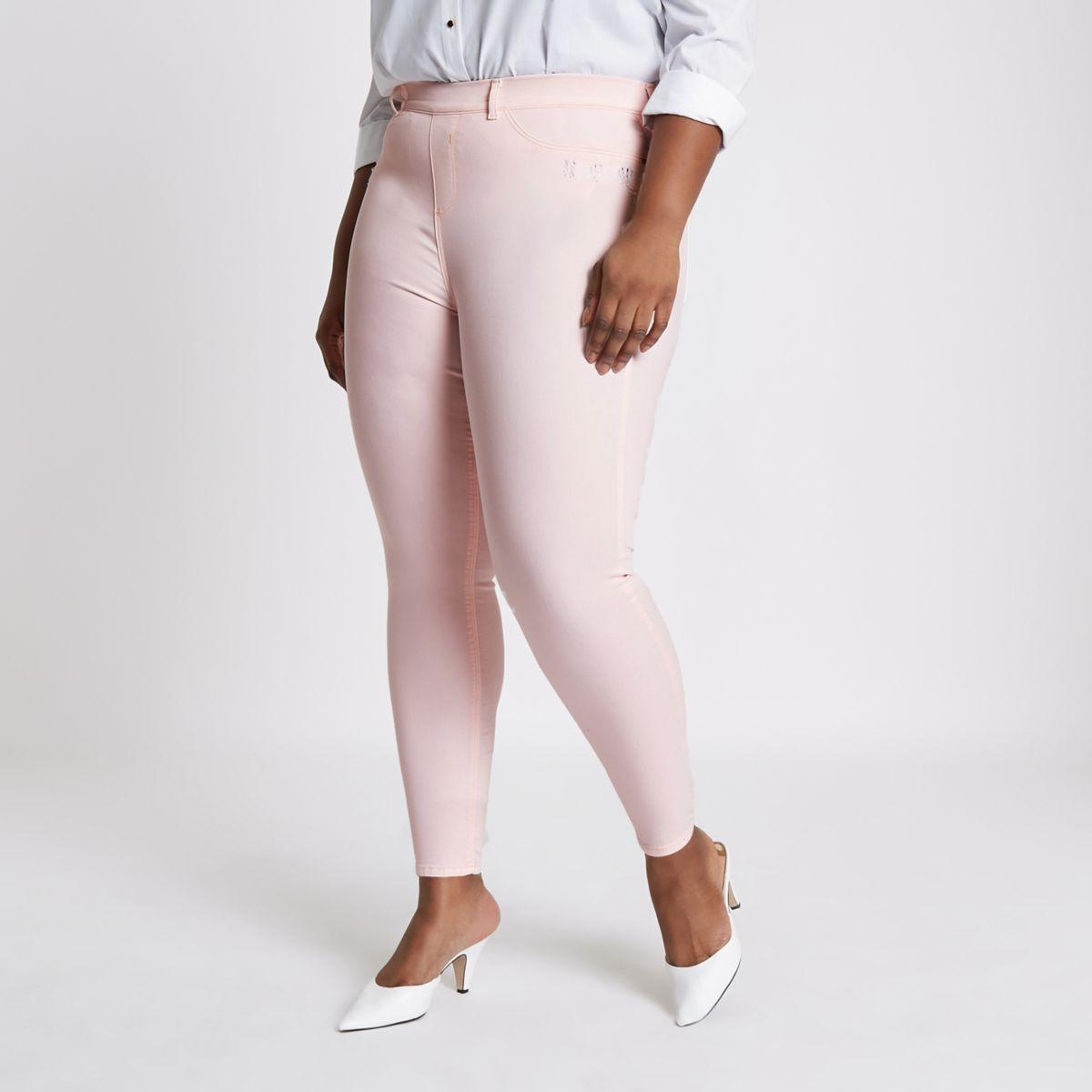 Plus light pink Jaida pull on jeggings
