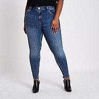 Plus – Amelie – Blaue Superskinny Jeans mit Fransen