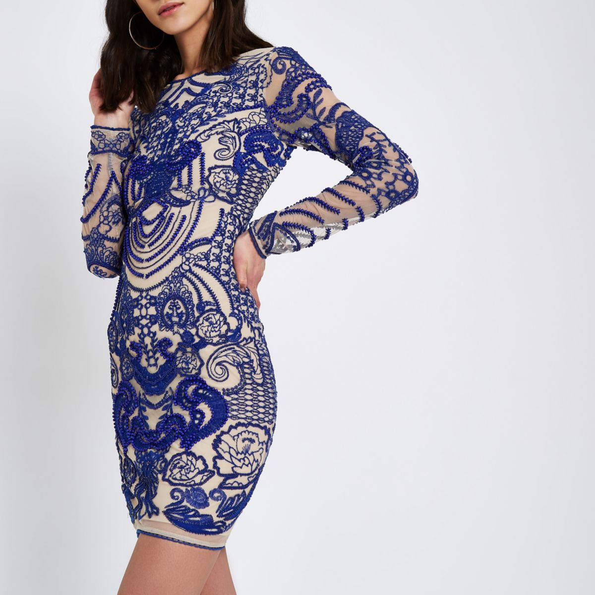 Blue bead embroidered bodycon dress