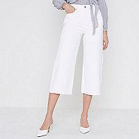 Alexa - Witte cropped jeans met wijde pijpen
