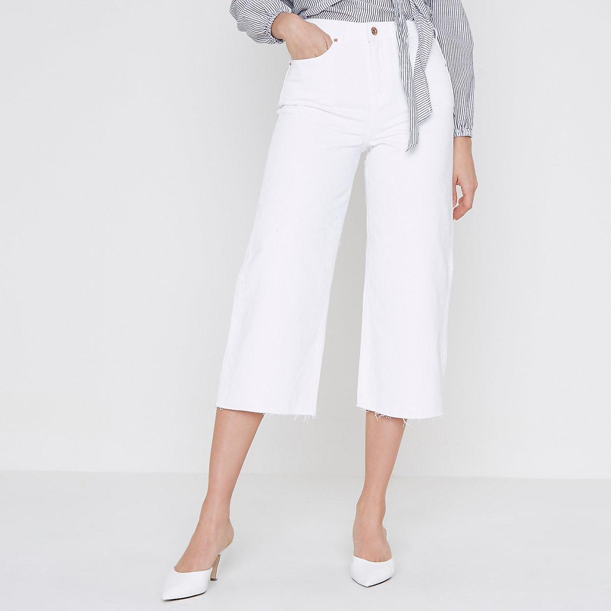 White Alexa cropped wide leg jeans