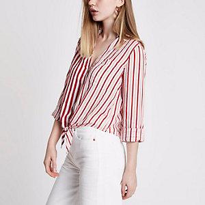 Rood gestreept cropped overhemd met strik voor