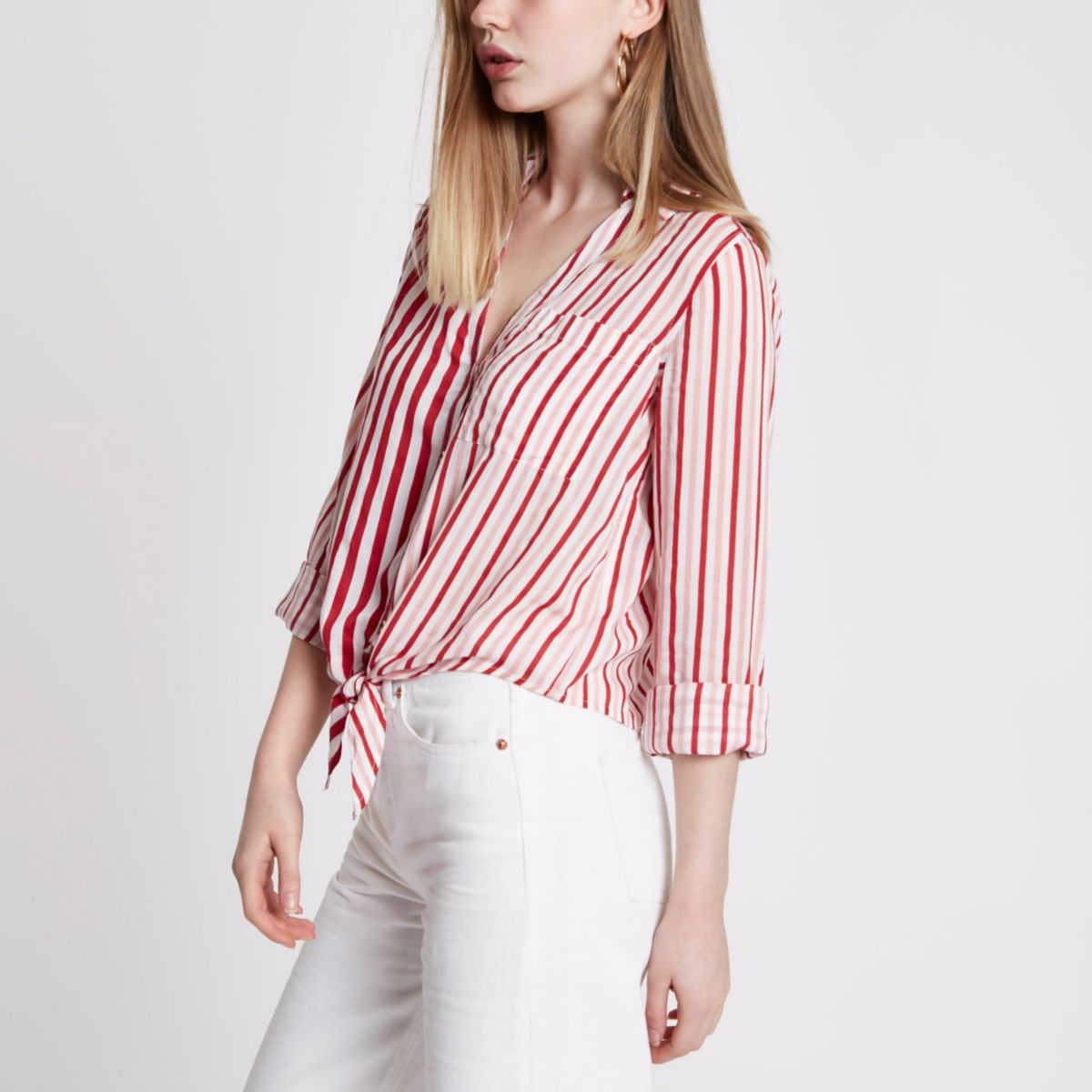 Red stripe tie front cropped shirt