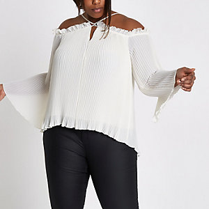 Plus white plisse cold shoulder top