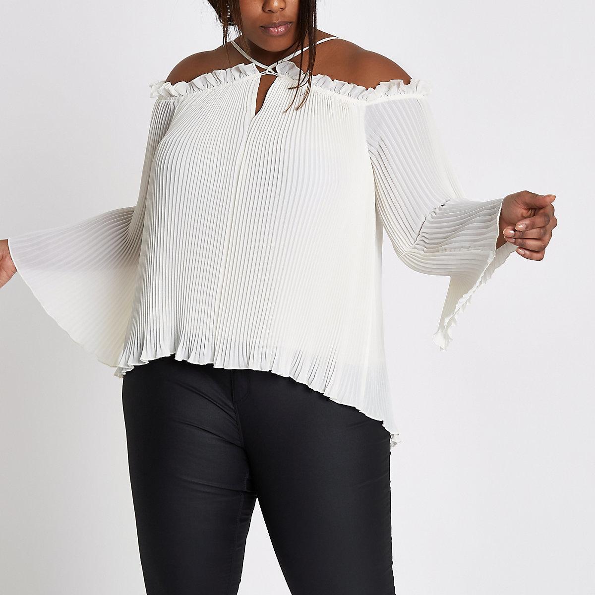 Plus white plisse cold shoulder top