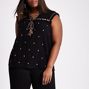 Plus black aztec embroidered sleeveless top