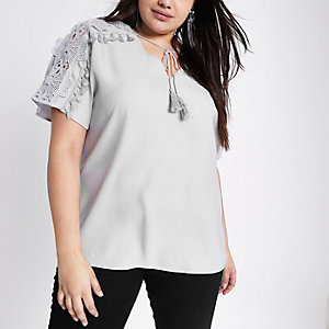 Plus grey tie neck embroidered flower top