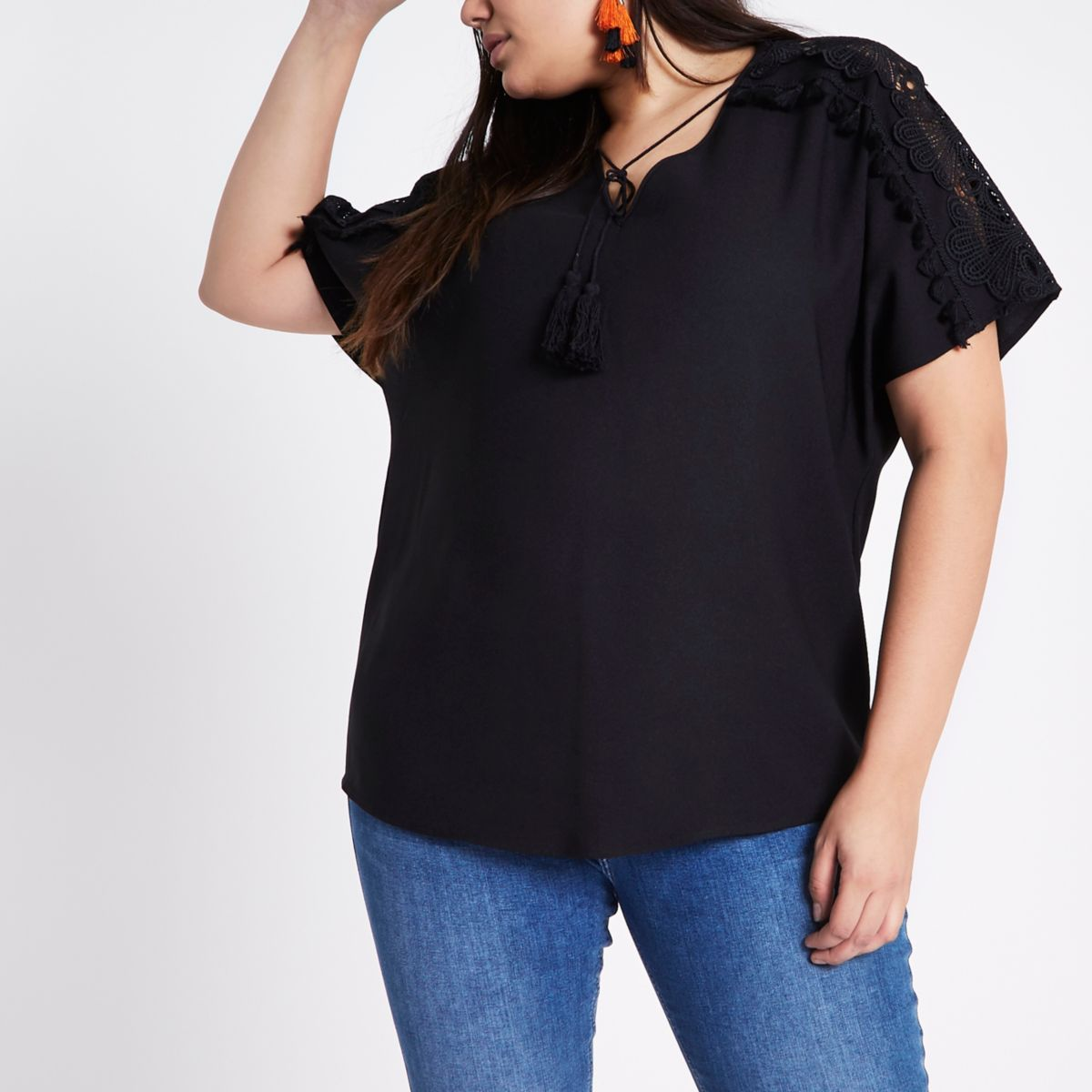 Plus black tie neck floral embroidered top