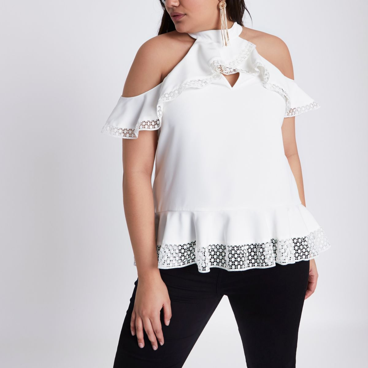 Plus cream cold shoulder frill peplum top