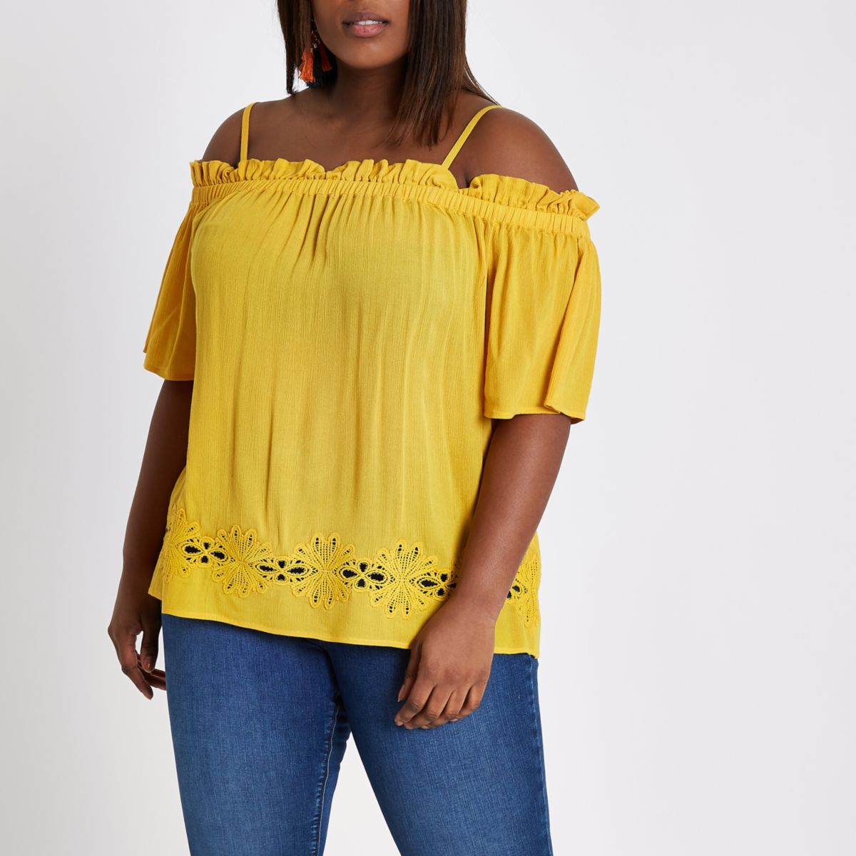 Plus yellow shirred bardot top