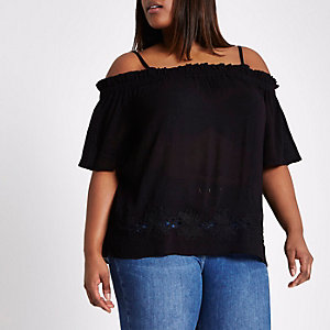 Plus black shirred bardot crochet hem top