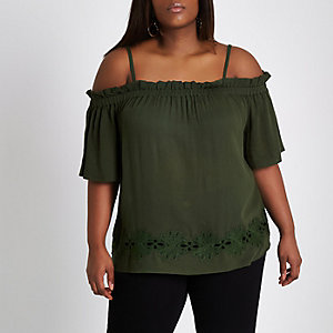 Plus khaki green embroidered bardot top