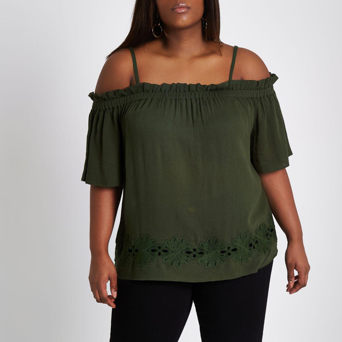 Plus khaki green embroidered bardot top