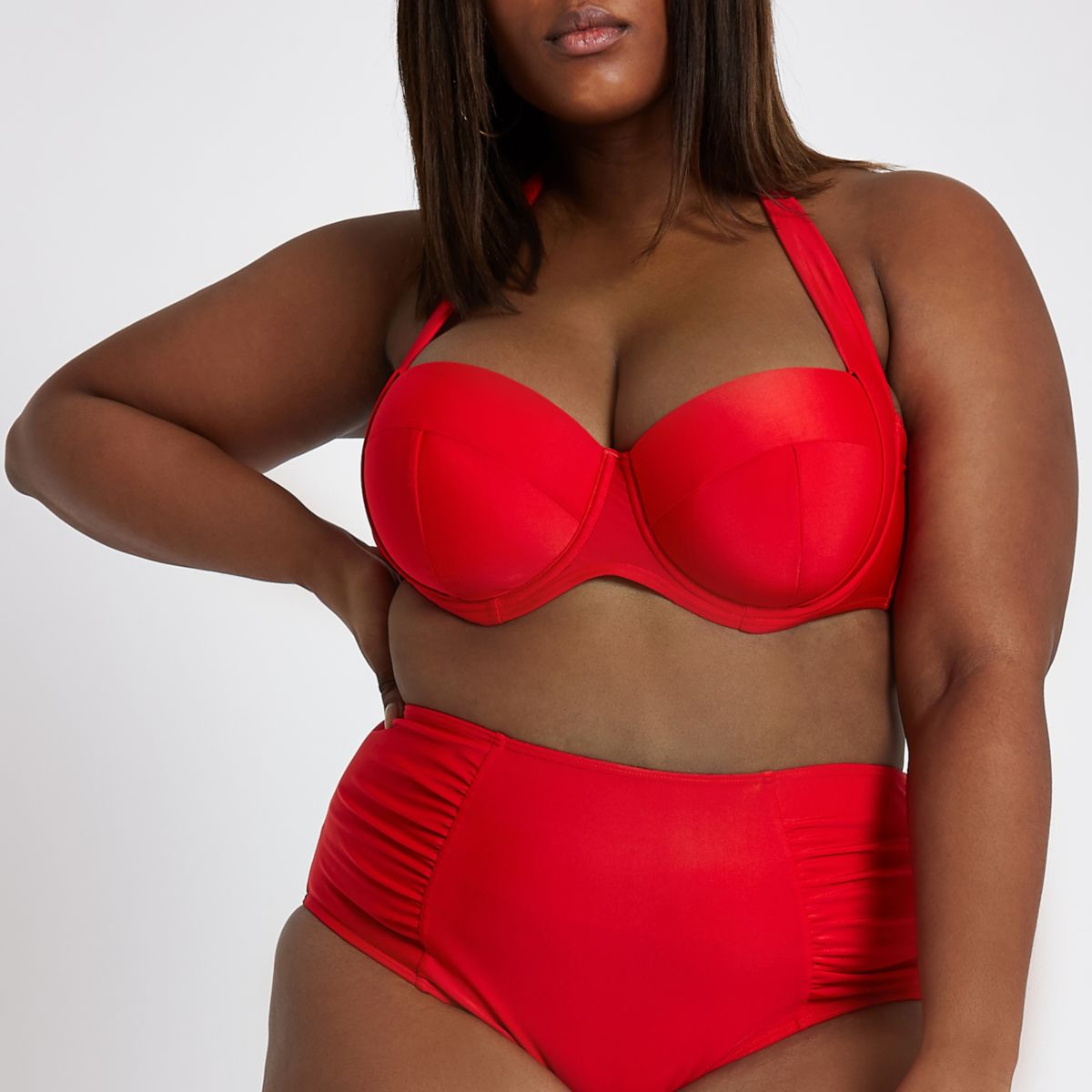 Plus red balconette halter neck bikini top