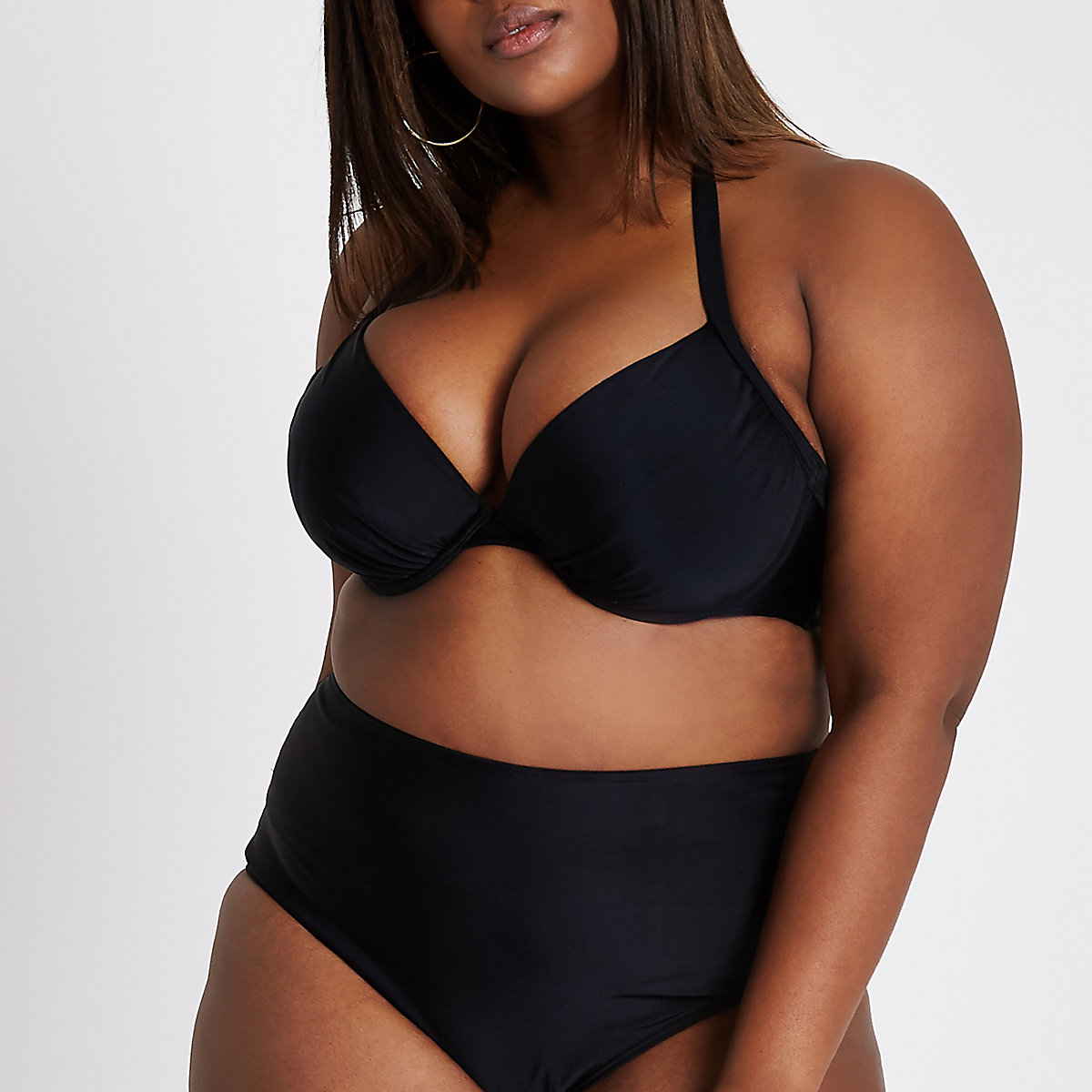 Plus black ruched halter neck bikini top
