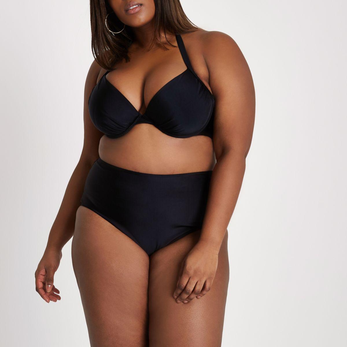 Plus black high waisted bikini bottoms