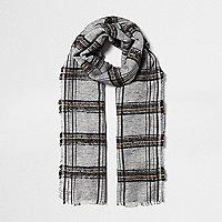 Black polka dot stripe print scarf