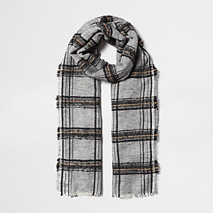 Black check textured scarf