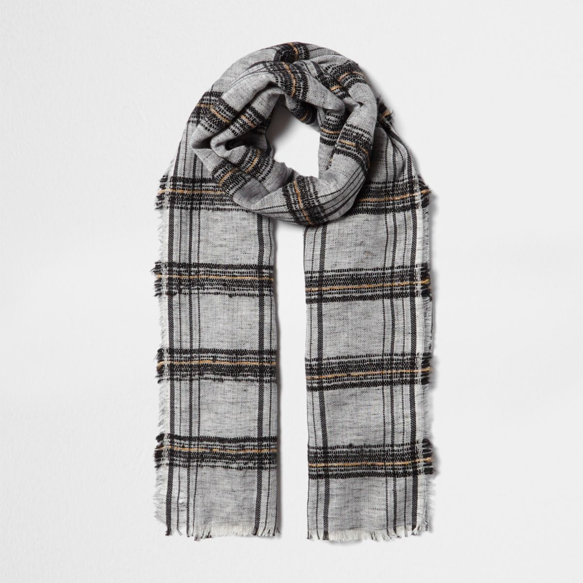Écharpe à carreaux noire texturée