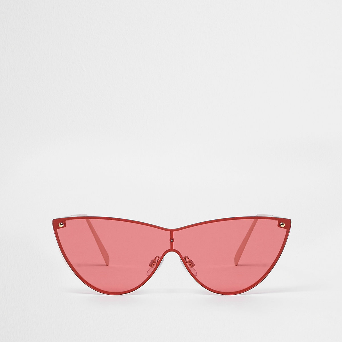 Gold tone visor cat eye red lens sunglasses