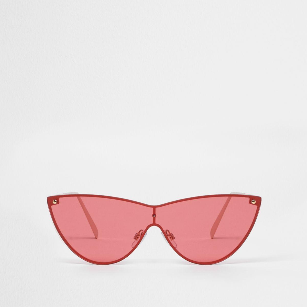 Gold tone visor cat eye red lens sunglasses