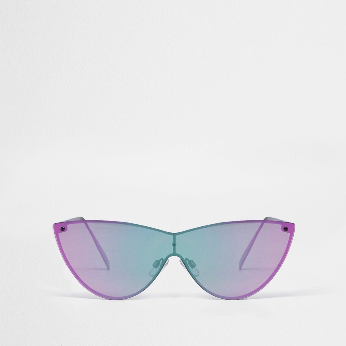 Gold tone visor cat eye pink lens sunglasses