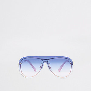 Rose gold tone blue lens aviator sunglasses