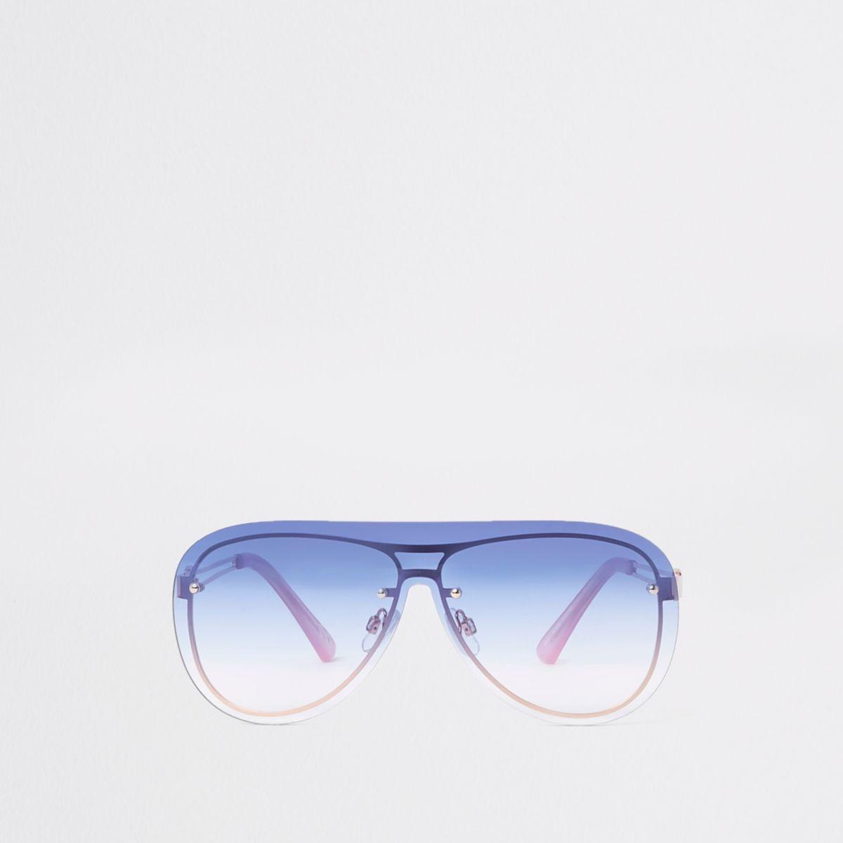 Rose gold tone blue lens aviator sunglasses