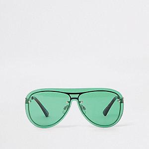 Groene pilotenzonnebril met doorlopende glazen
