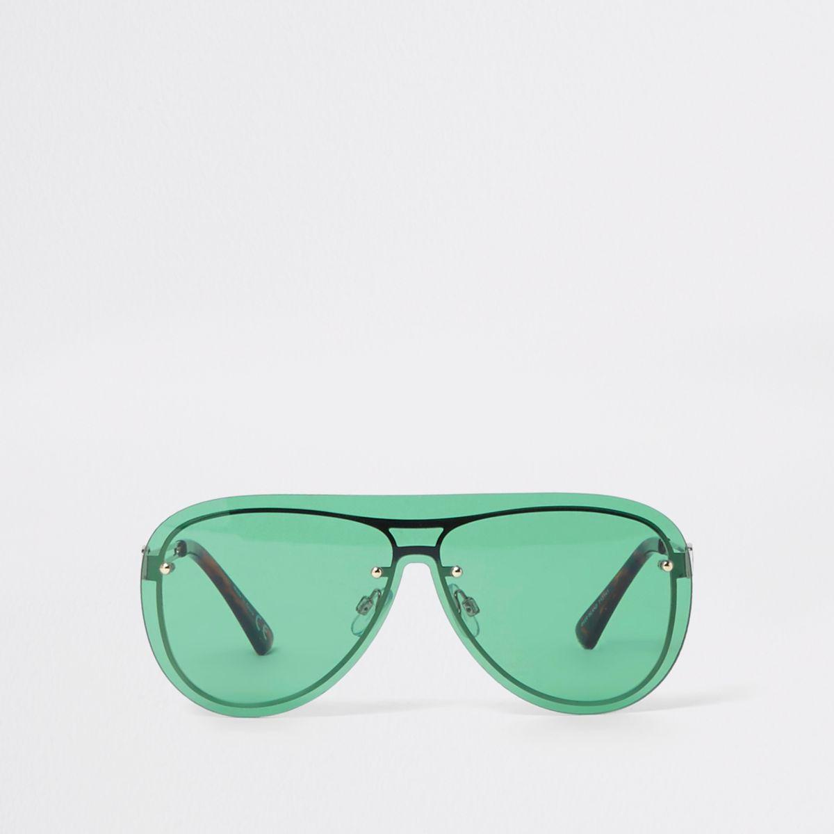 Green visor aviator sunglasses