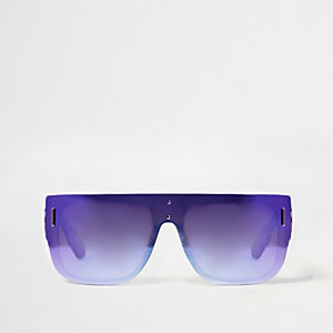 Purple mirrored lens flat top sunglasses