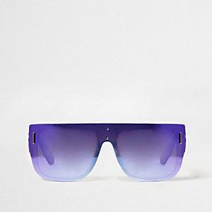 Paarse zonnebril met spiegelglazen en platte bovenzijde